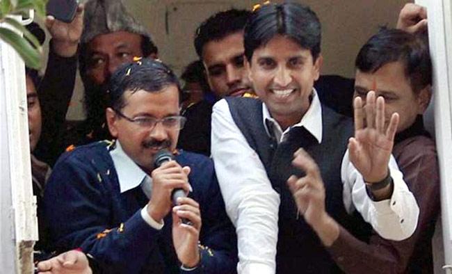 (L) Arvind Kejriwal and Kumar Vishwas