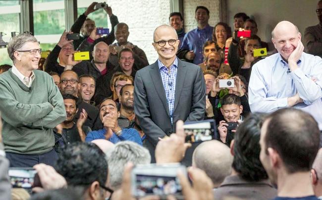 Bill Gates, Satya Nadella and Steve Ballmer with Microsoft employees