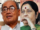 Digvijaya Singh (left) and Sushma Swaraj