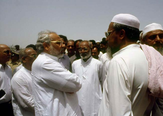 Modi at a relief camp in Ahmedabad in 2002