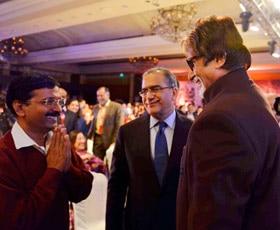 AAP chief Arvind Kejriwal with Amitabh Bachchan