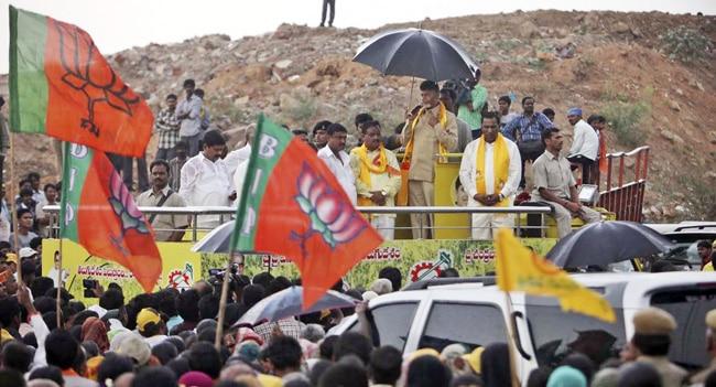 N.Chandrababu Naidu at an election rally in Hyderabad