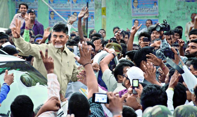 Chandrababu Naidu greets supporters in Hyderabad