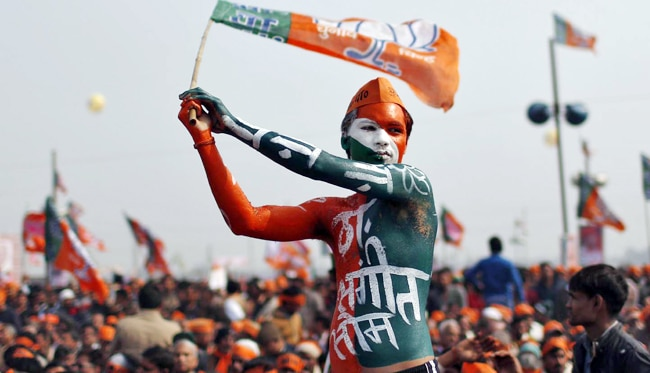 A BJP supporter at Narendra Modi's rally in Meerut