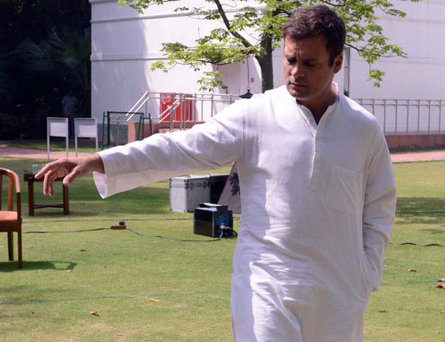 Rahul Gandhi at his 12, Tughlak Lane home