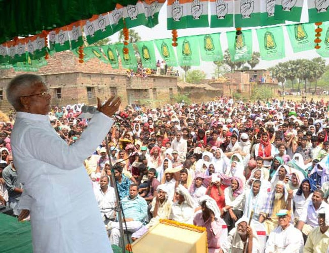 RJD chief Lalu Yadav addresses an election meeting in Madhubani, Bihar