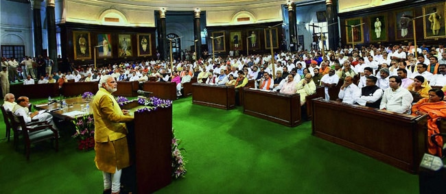 Narendra Modi addresses BJP Parliamentary party meeting in central hall of Parliament