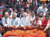 Narendra Modi on his way to file his nomination in Varanasi on April 24.