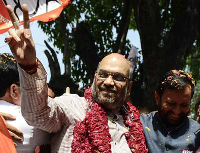 Amit Shah celebrates on May 16