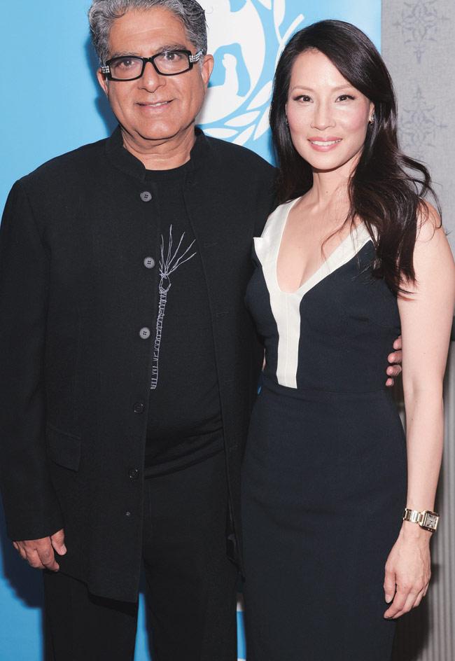 Lucy Lui with spiritual guru Deepak Chopra