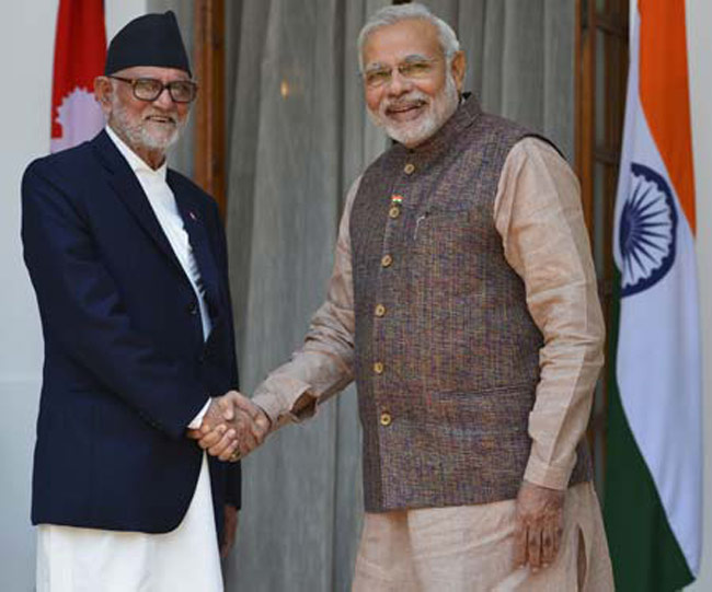 Narendra Modi with Nepal prime minister Sushil Koirala in New Delhi