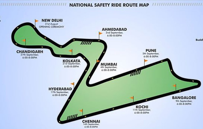 Bike Festival of India route map