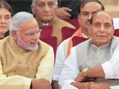 PM Narendra Modi with (from left) Union Ministers Rajnath Singh, Sushma Swaraj and Arun Jaitley