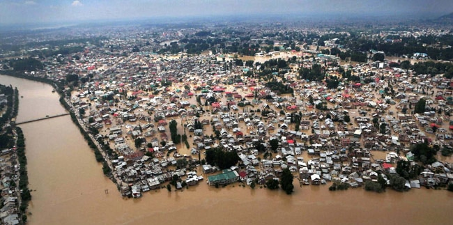 An aerial view of Srinagar affected by floods