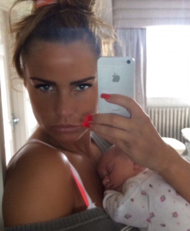 Katie Price with her baby