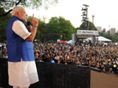 Modi calls for world peace, evokes youth power at a rock concert