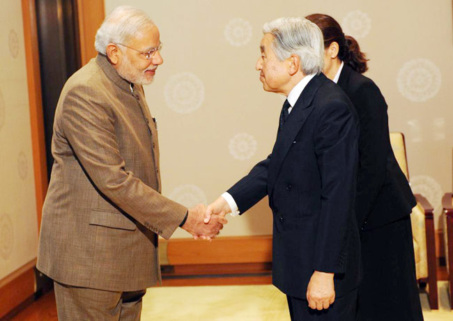 Prime Minister Narendra Modi with Japanese Emperor Akihito.