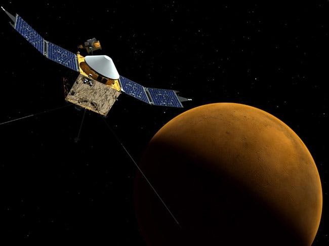 Artist's concept of the MAVEN spacecraft orbiting Mars.