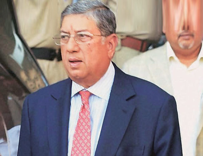 Sidelined BCCI president N. Srinivasan