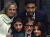 Amitabh Bachchan with wife Jaya Bachchan, son and daughter in law Aishwarya and daughter Shweta