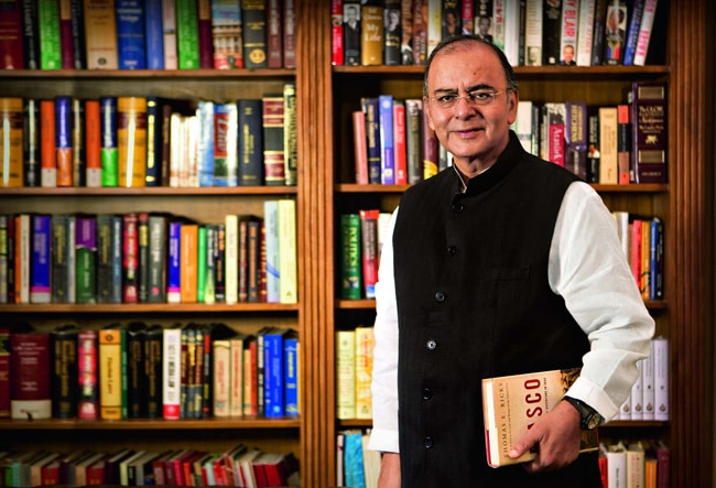 Finance and Defence Minister Arun Jaitley at home in Delhi