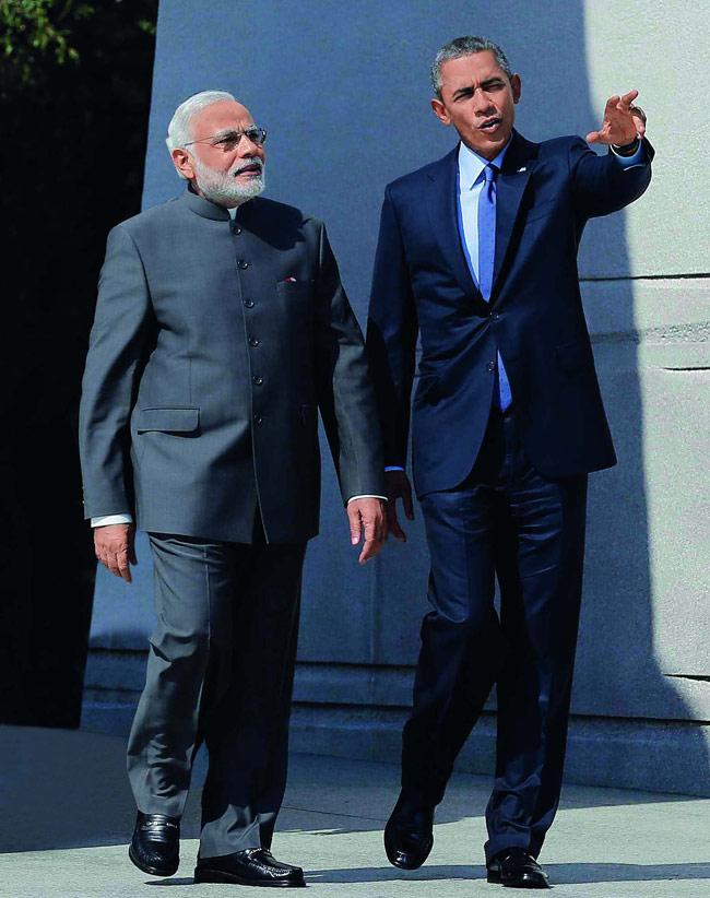 Narendra Modi with Barack Obama
