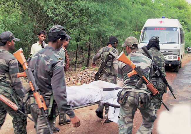 A file photo of security forces at the spot of Maoist attack which took place on May 25 last year.