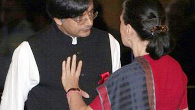 Shashi Tharoor with Congress president Sonia Gandhi.