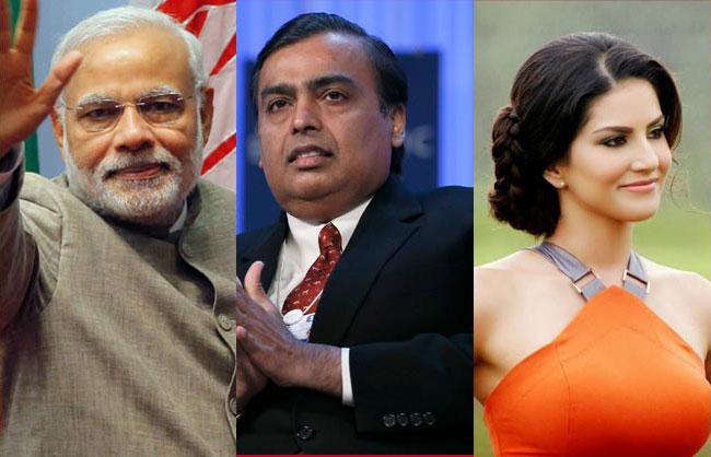 ad5474a767717a Modi, Mukesh Ambani and Sunny top Yahoo India 2014 search list ...