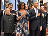 Pranab Mukherjee, US President Barack Obama and Michelle Obama