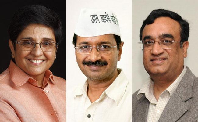 Kiran Bedi, Arvind Kejriwal, Ajay Maken