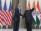 Barack Obama and Modi at Hyderabad House