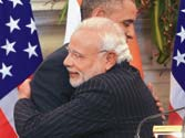 PM Narendra Modi and US President Barack Obama share a moment at a joint press conference at Hyderabad House in New Delhi on Sunday.