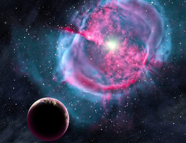 Artist's conception provided by the Harvard-Smithsonian Center for Astrophysics depicts an Earth-like planet orbiting an evolved star that has formed a stunning