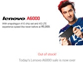 20,000 Lenovo A6000 sold out on Flipkart in 4 seconds