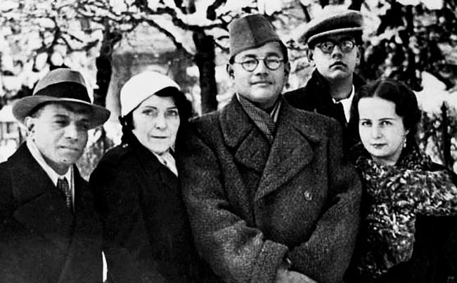 (Left to right) ACN Nambiar, Netaji Subhas Chandra Bose, Amiya Nath Bose and Emily Schenkl
