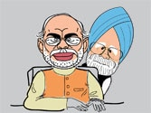 Modi and Manmohan: One year later, spot the differences