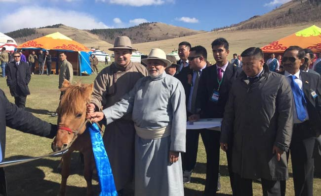 pm modi shoots arrows  gets gifted a horse in mongolia