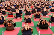 School children at Rajpath during rehearsal for International Yoga Day.