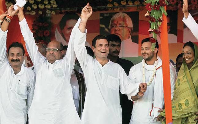 (From left) Bihar Congress president Ashok Choudhary, JD(U) leader K.C. Tyagi, Rahul Gandhi, Lalu Prasad's son Tejaswi of the RJD and Former Lok Sabha Speaker Meira Kumar at the Congress rally in West Champaran on September 19