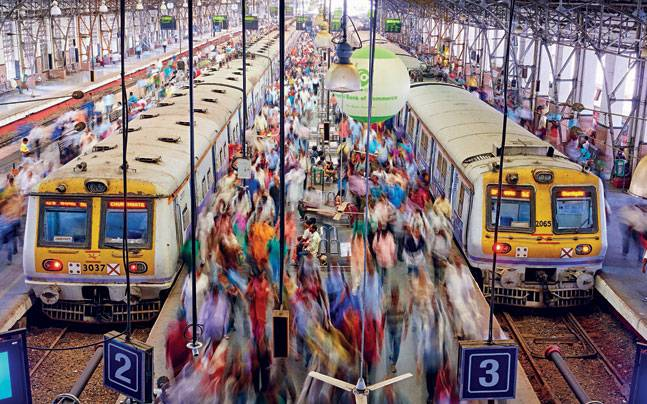 Commuters at the Chhatrapati Shivaji Terminus in Mumbai