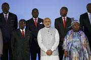 Modi (centre) and African leaders
