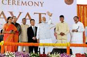 PM lays foundation stone for Andhra capital Amaravati, says state was divided due to actions of few