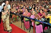 Anandiben Patel greets people at an event in Ahmedabad