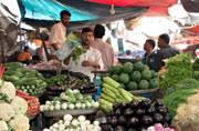 Vegetables, fruit, fish, and other essentials for Pakistani cuisine, at Karachi's Empress Market