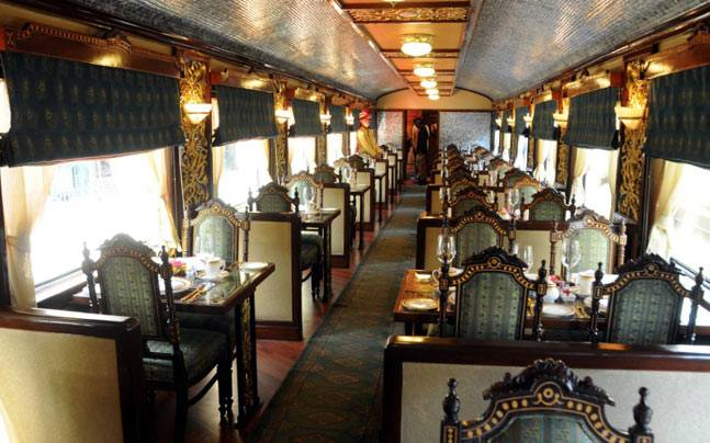 The grand interiors of the Maharajas' Express.