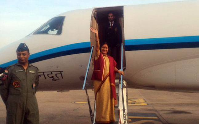 Sushma Swaraj arrived in Islamabad on Tuesday.