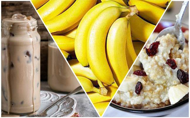 Banana, oatmeal and ice coffee. Picture courtesy: Pinterest/Caroline Tang/Kris Flynn/Abbi Bloomfield
