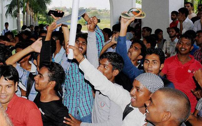 Protesting students at the Hyderabad university