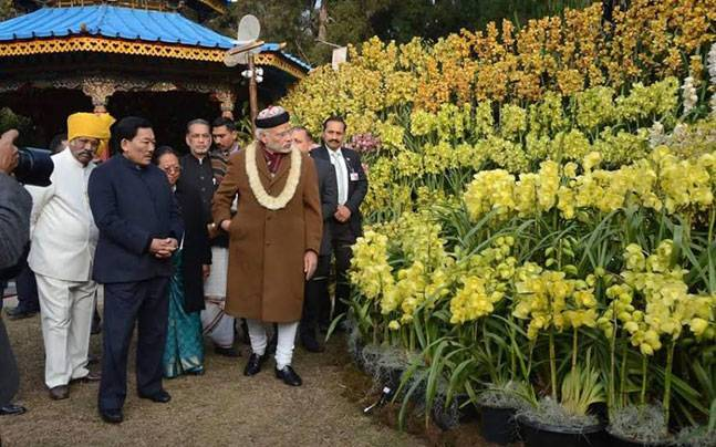 Modi visiting the orchid display and seasonal flowers exhibition in Gangtok.